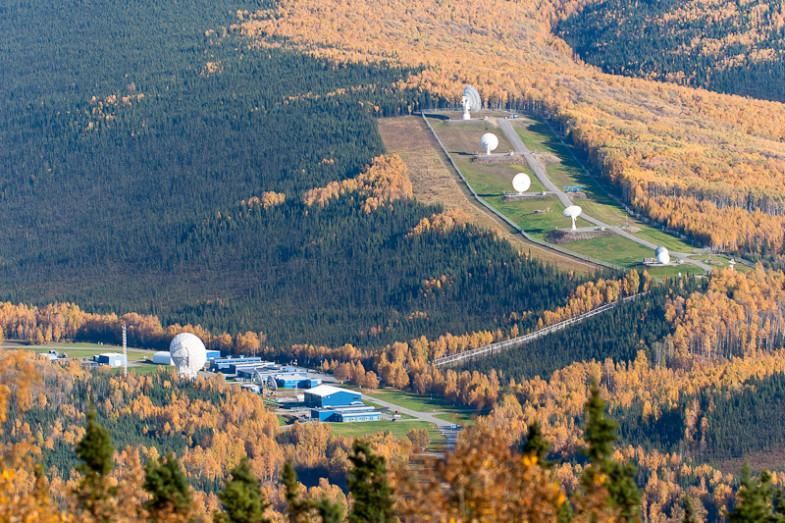 Photo courtesy of Light Trekker Studios The Fairbanks Command and Data Acquisition Station occupies part of the Gilmore Creek valley and a nearby ridge off the Steese Highway north of Fairbanks.